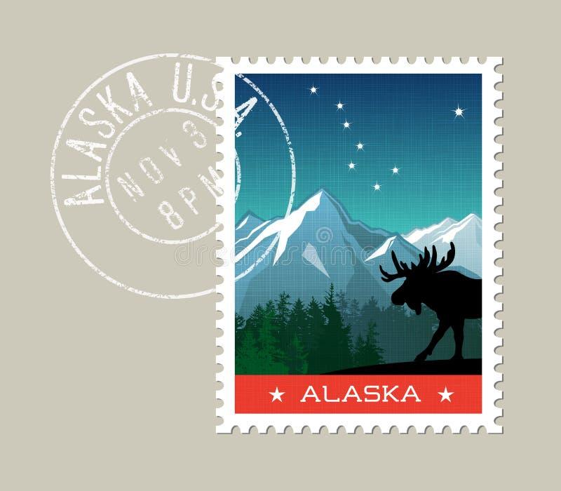 Paysage scénique de montagne de l'Alaska avec des orignaux illustration libre de droits