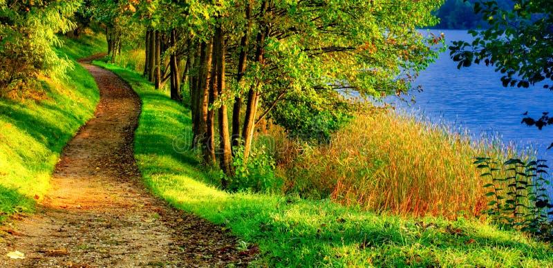 Paysage scénique de nature de chemin près de lac photos stock