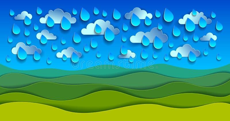 Paysage scénique de nature de pré d'herbe verte sous les baisses c de pluie illustration libre de droits