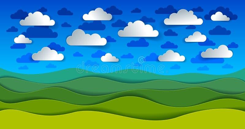 Paysage scénique de nature de pré et de nuages d'herbe verte dans illustration libre de droits