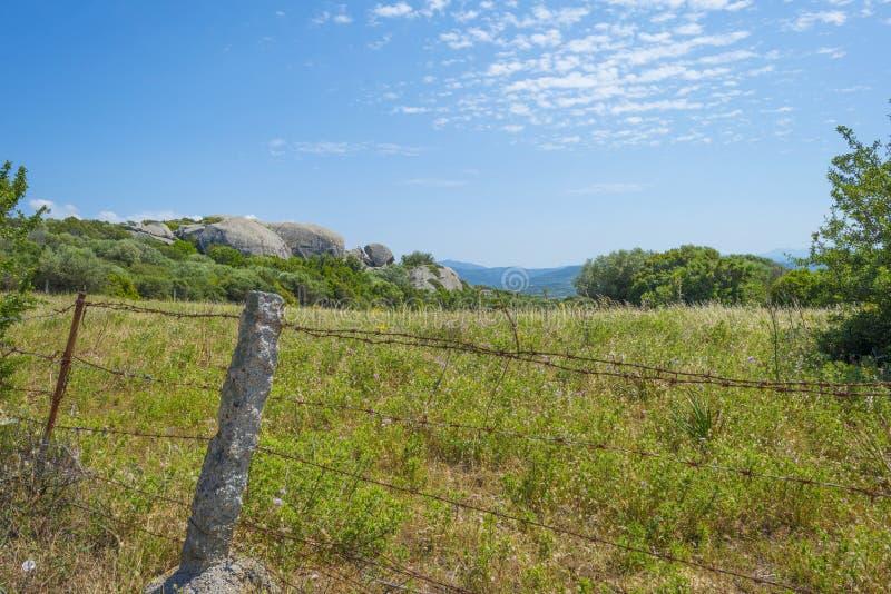 Paysage scénique des collines vertes et des montagnes rocheuses de l'île de la Sardaigne photographie stock