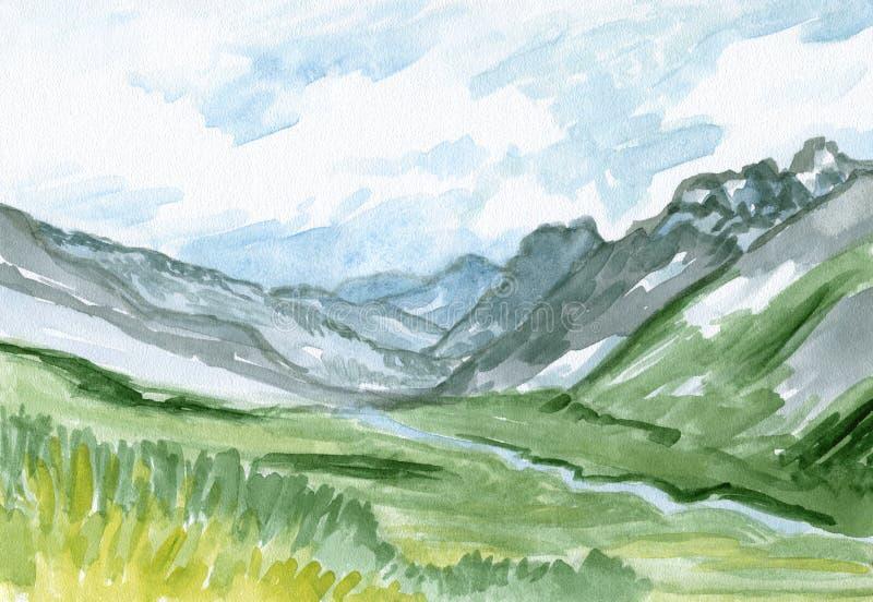 Paysage scénique - montagnes, rivière et pré, croquis d'aquarelle, illustration peinte à la main illustration stock