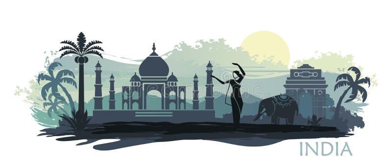 Paysage stylisé d'Inde avec Taj Mahal, un éléphant et un danseur Fond de vecteur illustration de vecteur