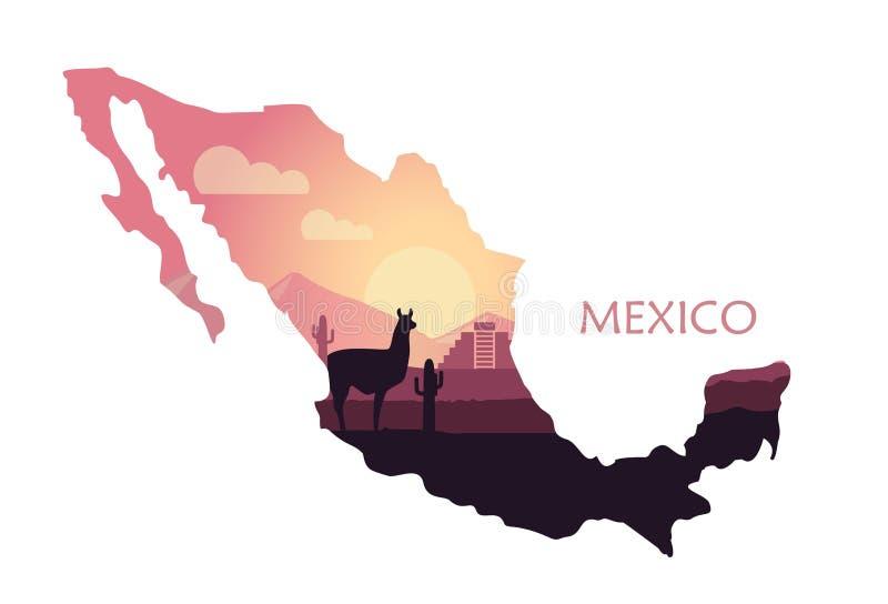 Paysage stylisé du Mexique avec un lama et des cactus sous forme de carte du Mexique illustration libre de droits
