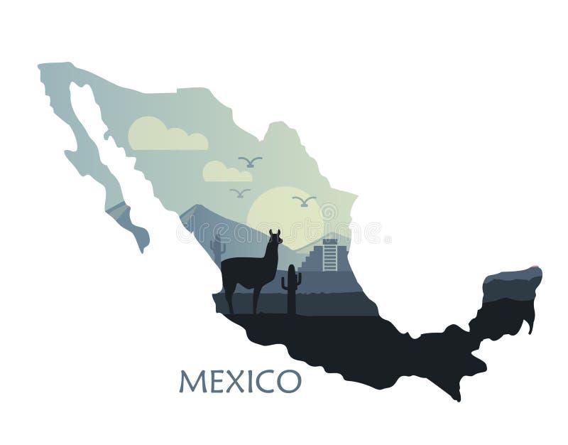 Paysage stylisé du Mexique avec un lama et des cactus sous forme de carte du Mexique illustration de vecteur