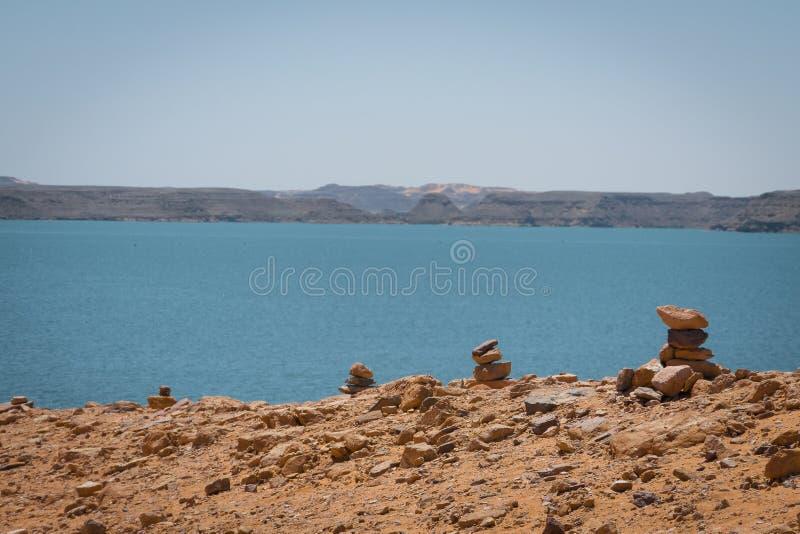 Paysage sur le Lac Nasser photos libres de droits