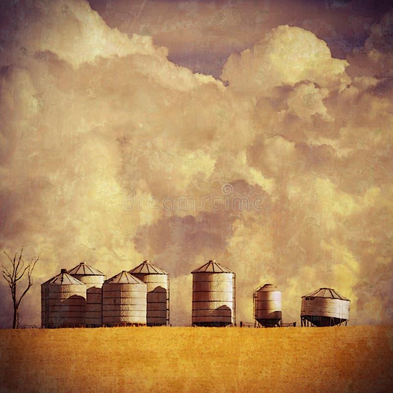 Paysage texturisé de ferme d'été de vintage photos stock
