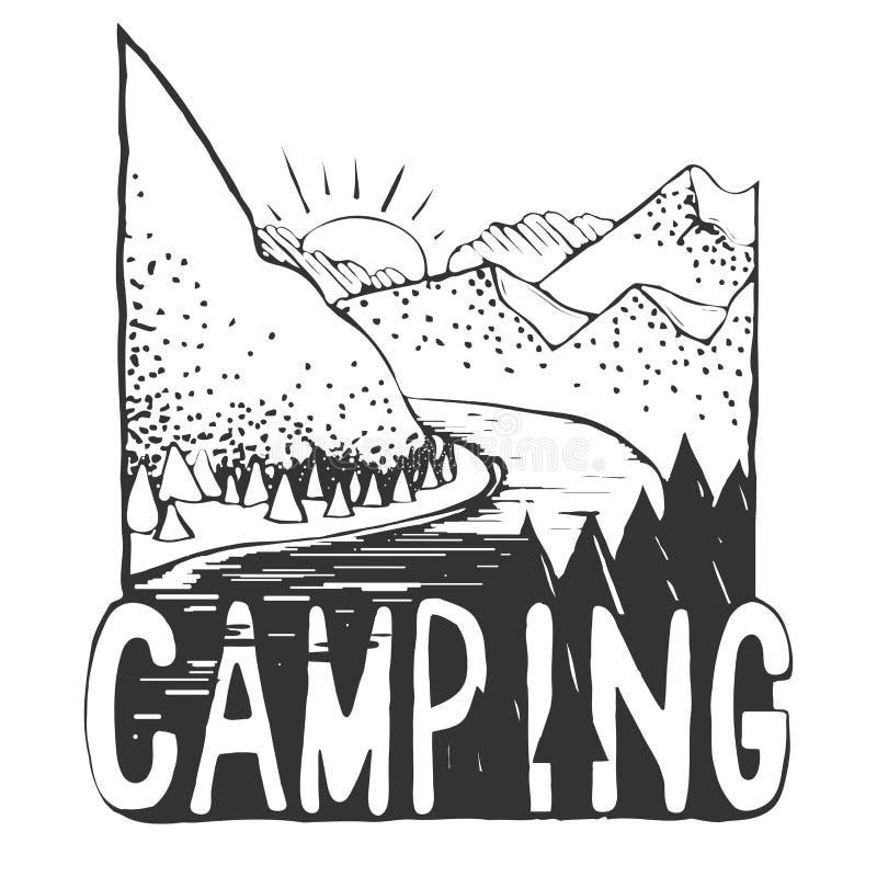 Paysage tiré par la main avec la tente et les montagnes croquis Vecteur ENV 10 illustration libre de droits