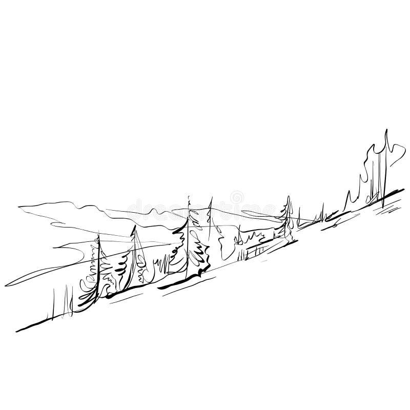 Paysage tiré par la main noir et blanc, montagnes illustration libre de droits
