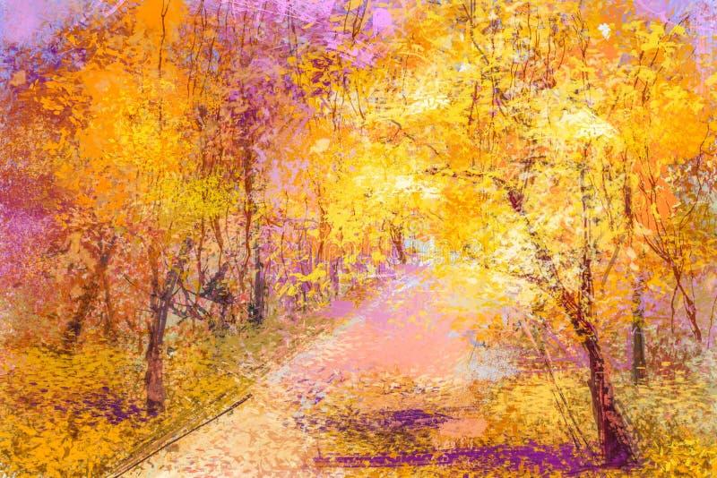 Paysage tombé coloré abstrait de feuilles de peinture à l'huile illustration stock