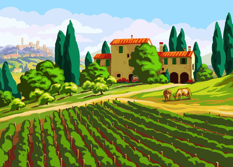 Paysage toscan avec la villa illustration libre de droits