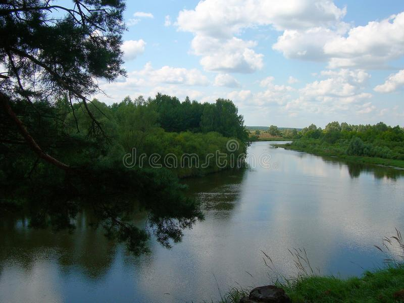 Paysage Tour de la rivière de Desna soirée photos libres de droits