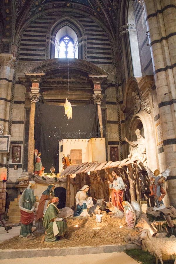Paysage traditionnel de huche de Noël en Di Sienne de Duomo Cathédrale métropolitaine de Santa Maria Assunta tuscany l'Italie photo libre de droits