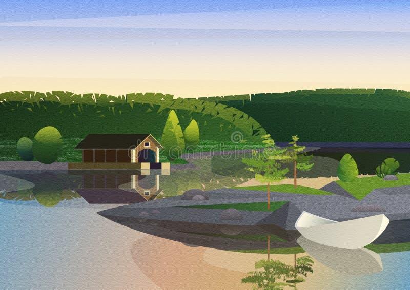 Paysage tranquille avec le dock de maison et le bateau à voile à distance sur le rivage du lac en nature verte avec le bruit de f image stock