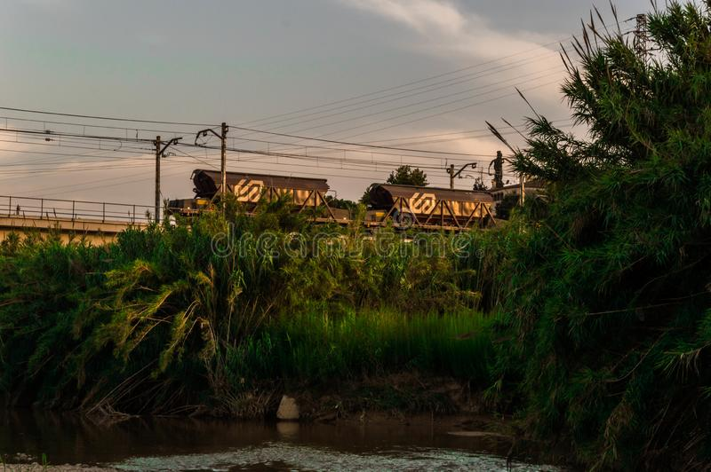 Paysage tropical avec de vieux trains photographie stock libre de droits