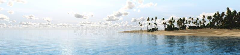 Paysage tropical, plage avec des palmiers au coucher du soleil image stock