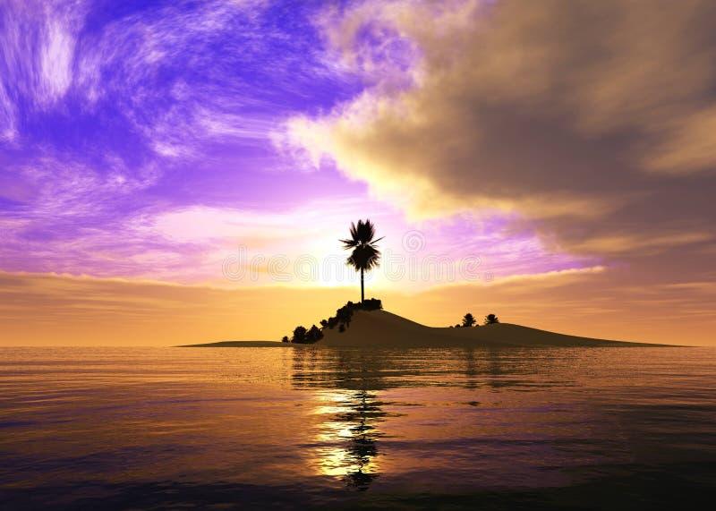 Paysage tropical, plage avec des palmiers au coucher du soleil images stock