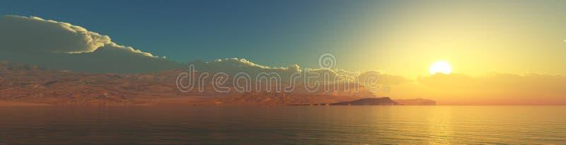 Paysage tropical, plage avec des palmiers au coucher du soleil images libres de droits