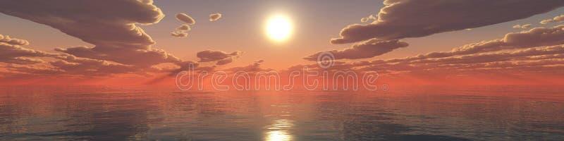 Paysage tropical, plage avec des palmiers au coucher du soleil photos stock