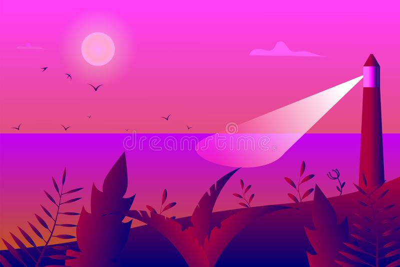 Paysage tropical, vue de la côte avec escrime, palmiers et plantes, phare dans la mer et mouettes dans le ciel avec illustration stock