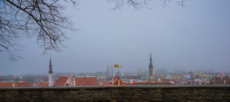 Paysage urbain aérien avec la vieille ville médiévale Vieille ville avec la ville Hall Tower de la plate-forme de visionnement da photographie stock