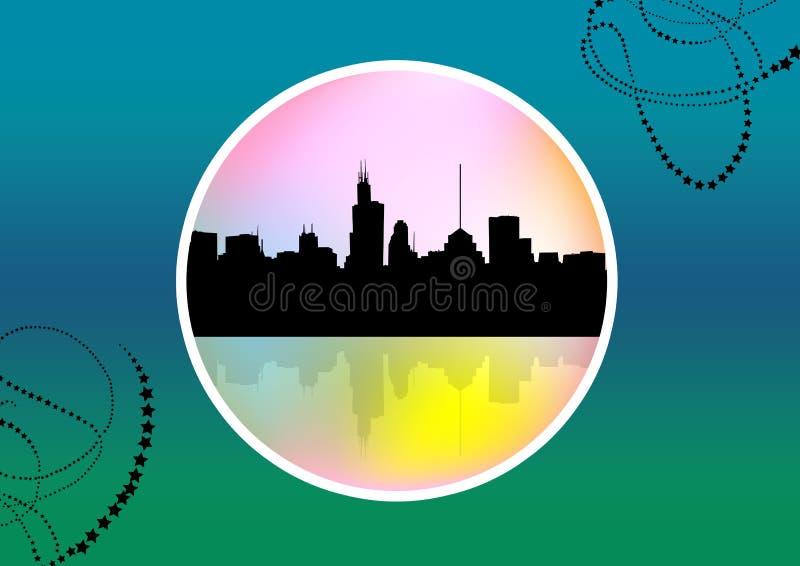 Paysage urbain abstrait de médaillon illustration libre de droits