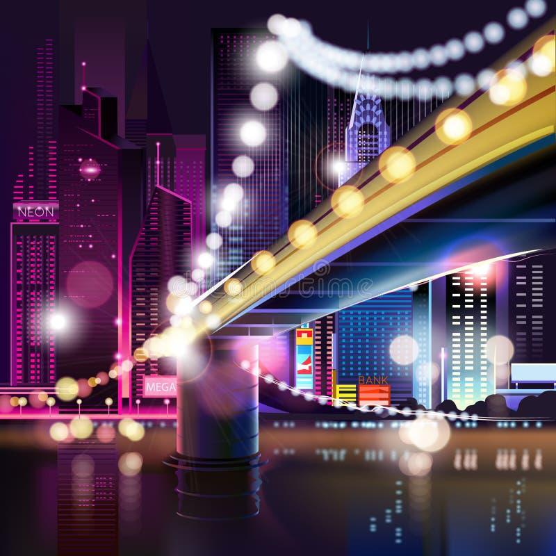 Paysage urbain abstrait de nuit illustration libre de droits