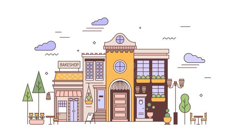 Paysage urbain aux façades de l'exquise construction européenne et boulangerie. Vue sur la rue du quartier de la ville avec une  illustration stock