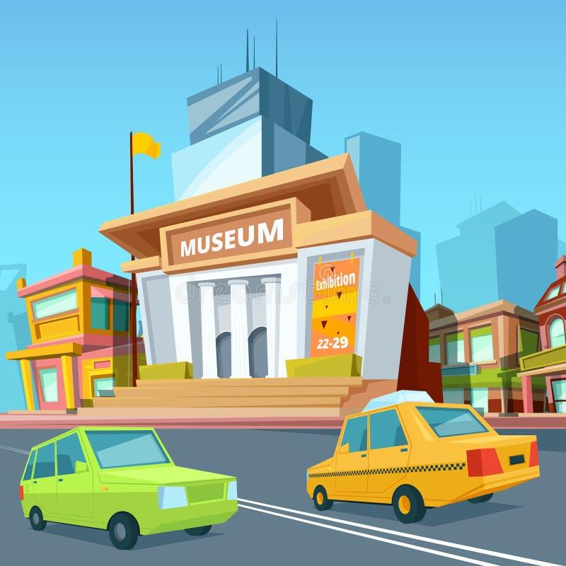 Paysage urbain avec de divers bâtiments et façade de musée historique illustration libre de droits
