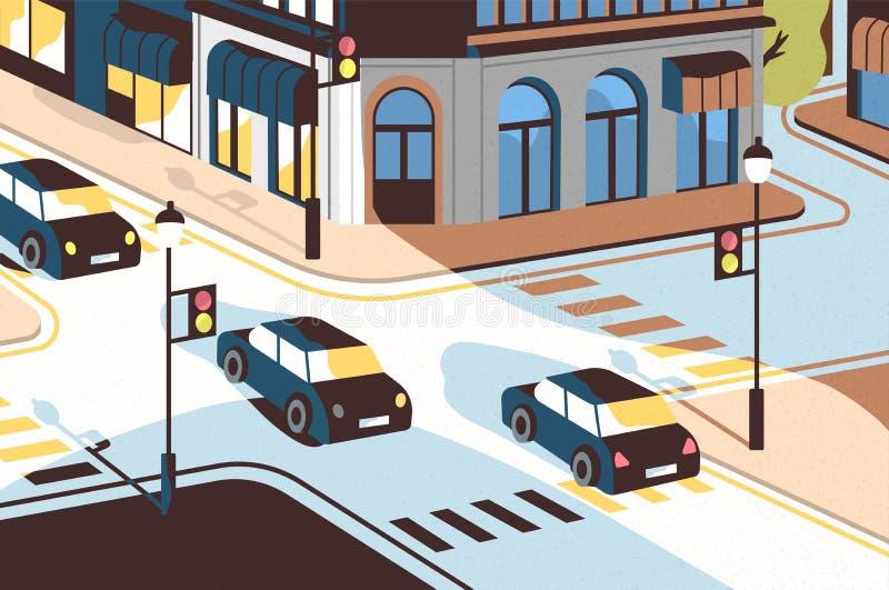 Paysage urbain avec l'entraînement de voitures le long de la route, beaux bâtiments, carrefour avec des feux de signalisation et  illustration stock