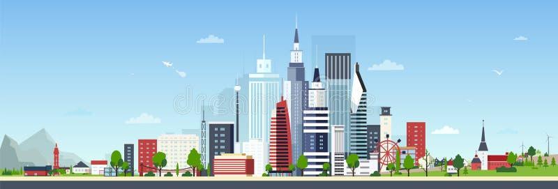 Paysage urbain avec le centre moderne de centre-ville ou de ville et les petites maisons résidentielles privées contre le ciel bl illustration stock