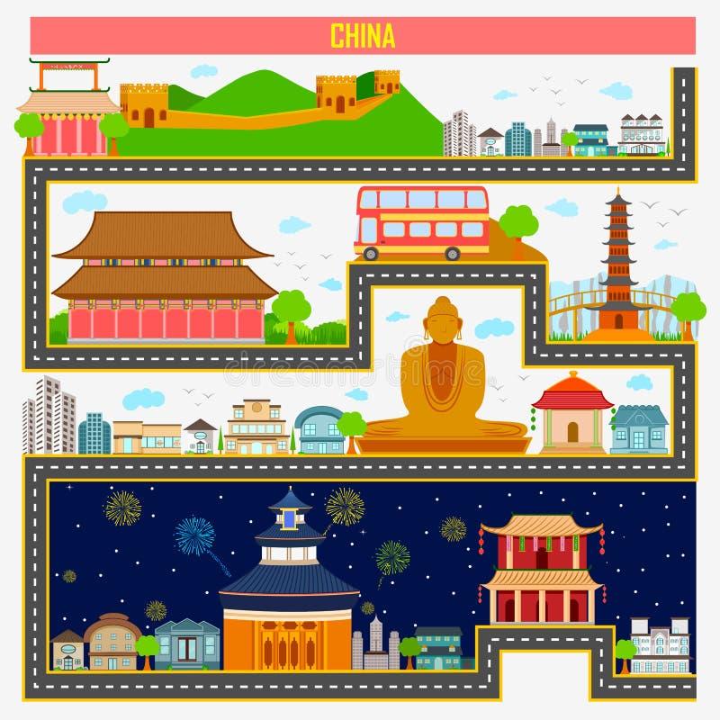 Paysage urbain avec le monument et le bâtiment célèbres de la Chine illustration de vecteur