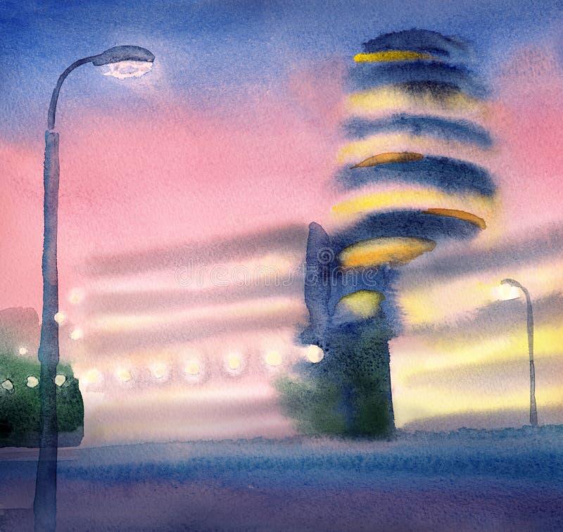 Paysage urbain avec les bâtiments lumineux au coucher du soleil watercolor illustration stock
