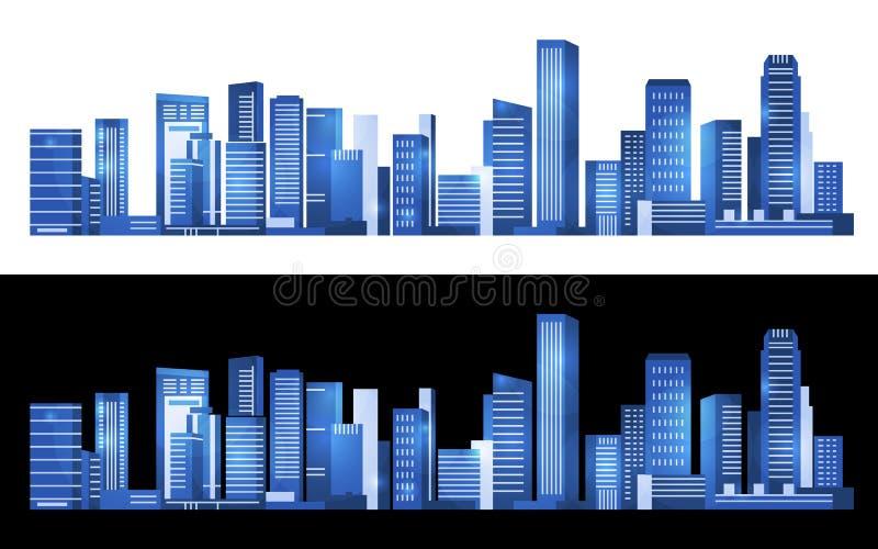 Paysage urbain bleu établissant la conception abstraite moderne horizontale d'art de vecteur illustration de vecteur