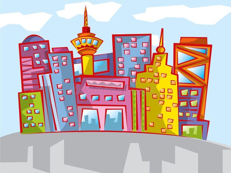 Paysage urbain coloré de dessin animé d'amusement illustration de vecteur