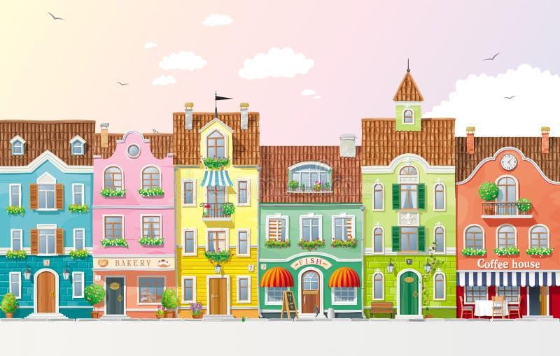 Paysage urbain d'été illustration de vecteur