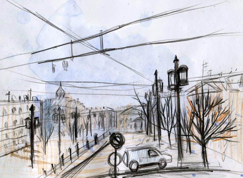 Paysage urbain d'aquarelle Sch?ma Colorez les crayons illustration stock