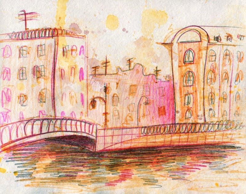 Paysage urbain d'aquarelle Sch?ma Colorez les crayons illustration de vecteur