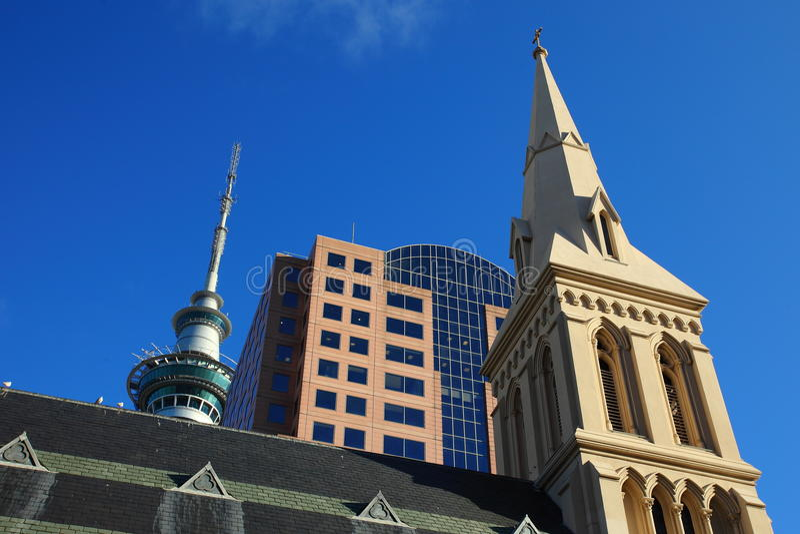 Paysage urbain d'Auckland iconique image libre de droits