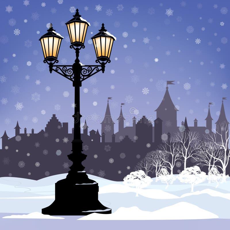 Paysage urbain d'hiver avec le réverbère, snowlandscape illustration stock