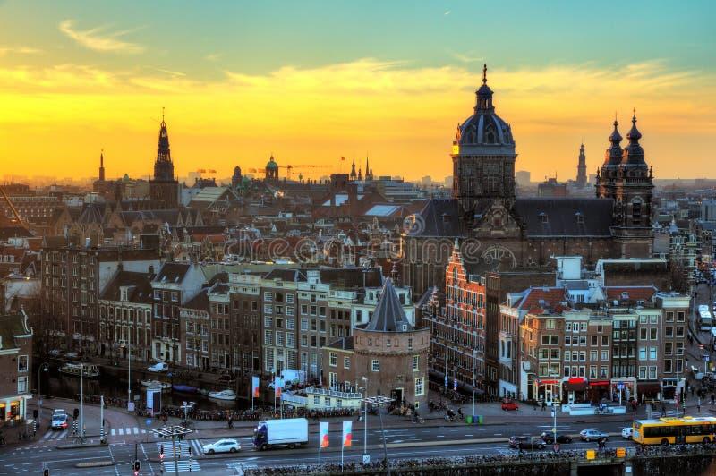 Paysage urbain d'hiver d'Amsterdam image stock
