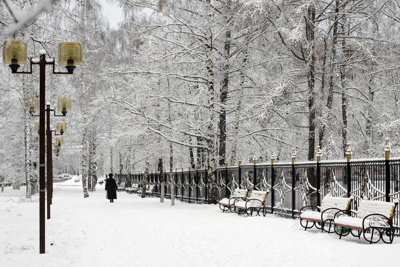 Paysage urbain d'hiver, tout couvert de neige images stock