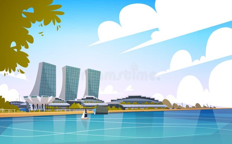Paysage urbain d'horizon de fond de gratte-ciel de vue de ville de Singapour illustration stock
