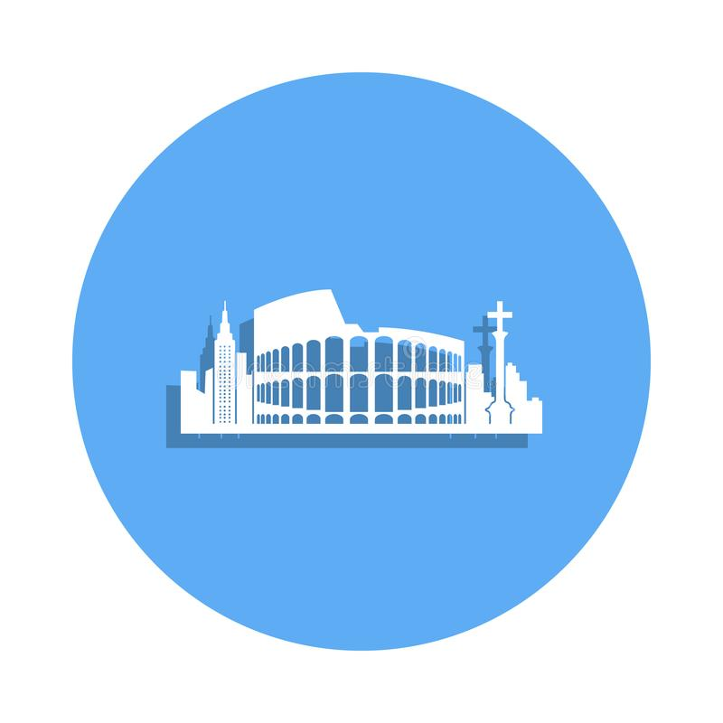 paysage urbain d'icône de Rome dans le style d'insigne Un de l'icône de collection de paysage urbain peut être employé pour UI, U illustration de vecteur