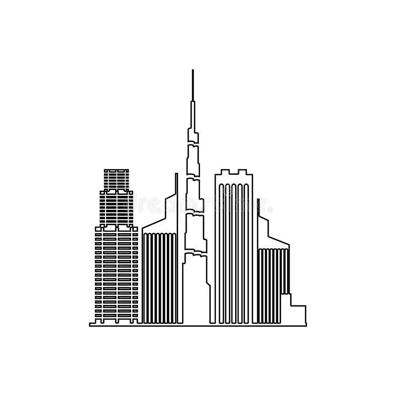 paysage urbain d'ic?ne de Duba? ?l?ment du paysage urbain pour le concept et l'ic?ne mobiles d'applis de Web Contour, ligne mince illustration stock