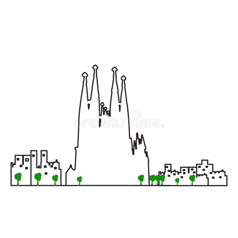 Paysage urbain d'isolement de Barcelone illustration de vecteur