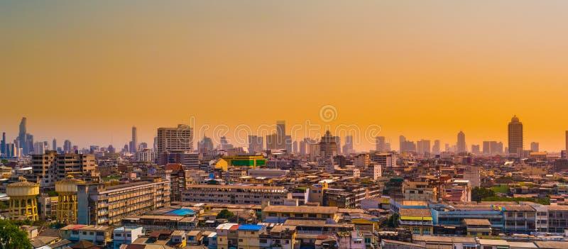 Paysage urbain de bâtiments de ville de Bangkok, le haut centre ville de panorama de bâtiments de la ville Thaïlande de Bangkok photos libres de droits