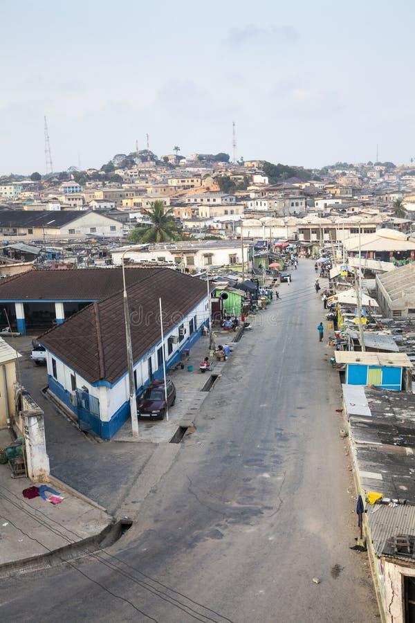 Paysage urbain de côte de cap, Ghana images libres de droits