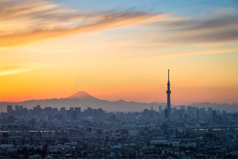 Paysage urbain de coucher du soleil de Tokyo photo libre de droits