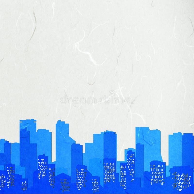 Paysage urbain de coupure de papier de riz illustration libre de droits